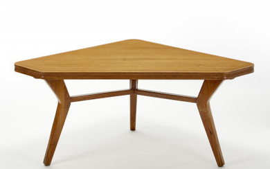 Tripod table with solid chestnut wood structure and triangular top...