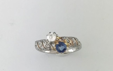 Two gold 750°/°°° sapphire and diamond ring TA...