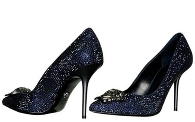 VERSACE BLUE SAPPHIRE CRYSTAL PALAZZO pump shoes