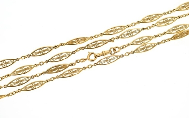 Vest chain or necklace in 18 K (750 °/°°°) yellow gold with openwork and filigree olive mesh.