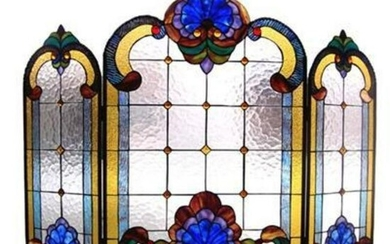 Victorian Tiffany-Style Stained Glass Folding Fireplace