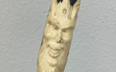 Walking stick with mascaron from Mephisto - Including certificate - Ivory - Circa 1860