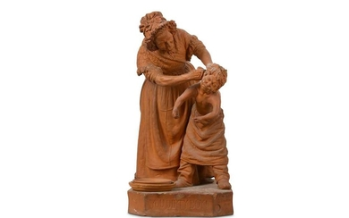 'YOU DIRTY BOY!' A 19TH CENTURY TERRACOTTA FIGURAL GROUP AFTER GIOVANNI FOCARDI FOR PEARS SOAP