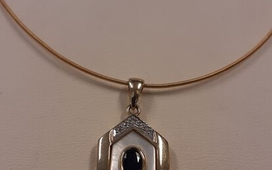 Yellow gold - Necklace with pendant Sapphire - Diamond, Mother of Pearl