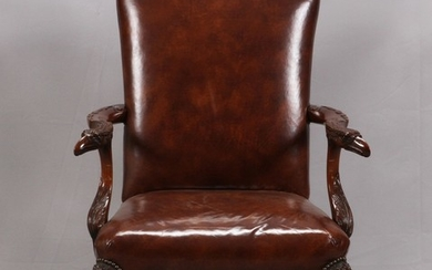 CHIPPENDALE STYLE MAHOGANY AND LEATHER CHAIR 44 33 34