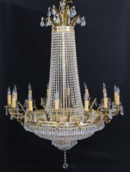 14 LIGHT GILT METAL CRYSTAL CHANDELIER BY SCHONBECK