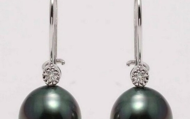 14 kt. White Gold - 10x11mm Tahitian Pearl Drops