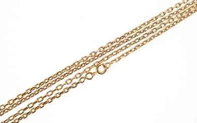 18 K (750 °/°°°) yellow gold chain with forced mesh.