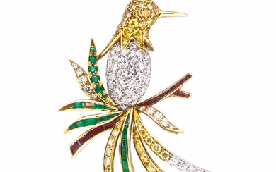 18kt Gold, Colored Diamond, Diamond, and Gem-set Bird Brooch