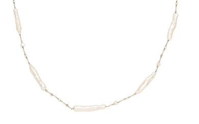 A freshwater pearl and diamond necklace