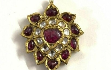 22 kt Gold Front and Back side Ruby-Diamonds pendent