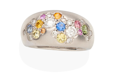 A diamond and coloured sapphire cluster ring