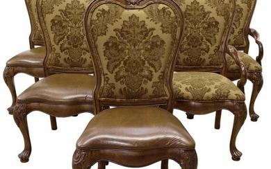 (6) THOMASVILLE UPHOLSTERED LEATHER SEAT CHAIRS