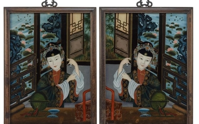 PAIR OF CHINESE EXPORT REVERSE PAINTINGS ON GLASS Both depict a young woman with fanciful hair adornments seated at a courtyard wind...