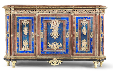A French mid-19th century ormolu, silvered metal, aventurine glass and blue coloured glass mounted ebony and ebonised breakfront meuble d'appui