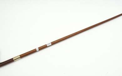 A 19TH CENTURY AUSTRALIAN BLACKWOOD SHAFTED WALKING STICK WITH SILVER BAND