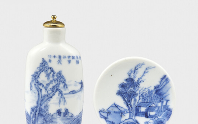 A BLUE AND WHITE PORCELAIN 'SCHOLARS IN LANDSCAPE' SNUFF BOTTLE, DATED CYCLICAL DINGYOU YEAR CORRESPONDING TO 1897 AND OF THE PERIOD
