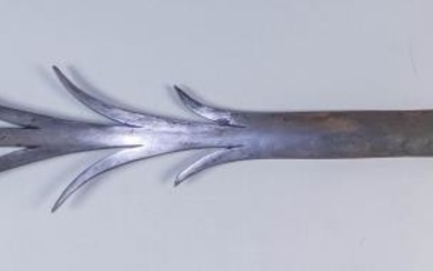 A Barbed Steel Spear, 20th Century, the six barbed...