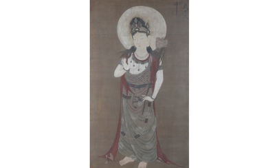 A CHINESE PAINTING ON SILK OF GUANYIN.