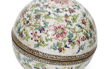 A Chinese Canton painted enamel spherical box, Qianlong period, decorated...