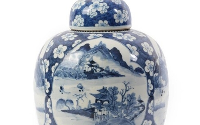 A Chinese Porcelain Jar and Cover, 19th century, of ovoid...