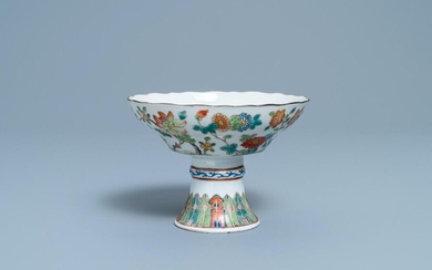 A Chinese famille rose stem bowl, 19th C.