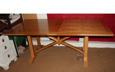 A Frank Hudson light oak refectory style dining table with p...
