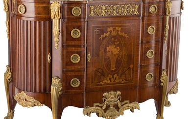 A French Regency-Style Gilt Bronze Mounted Mahogany and Hardwood Marquetry Sideboard with Marble Top (late 19th century)
