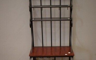 A METAL AND TIMBER WINE RACK HALL STAND (175H X 60W X 40D CM)