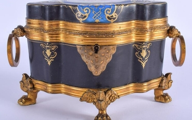 A MID 19TH CENTURY FRENCH PORCELAIN AND BRONZE CASKET