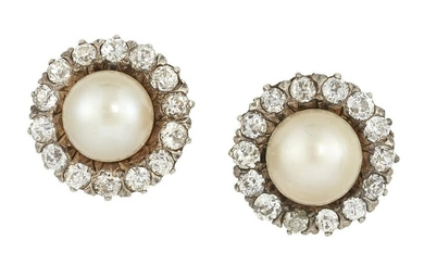 A PAIR OF CONTINENTAL SALTWATER PEARL AND DIAMOND