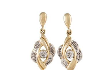 A PAIR OF DIAMOND CLUSTER EARRINGS, drop design, mounted in ...