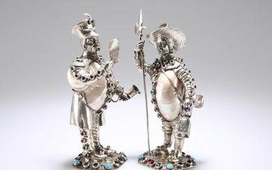 A PAIR OF GERMAN SILVER, NAUTILUS SHELL, JEWELLED AND