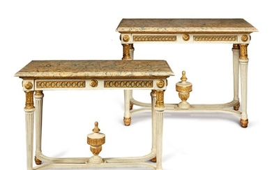 A PAIR OF SPANISH NEOCLASSICAL CARVED, PARCEL-GILT AND GRAY-PAINTED CONSOLE TABLES, LAST QUARTER 18TH CENTURY