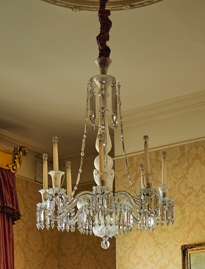 A PAIR OF VICTORIAN FROSTED AND CUT-GLASS CHANDELIERS, LATE 19TH CENTURY