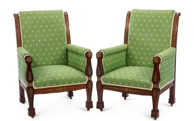 A Pair of Empire Style Gilt Bronze Mounted Mahogany