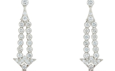 A Pair of Kunzite, Diamond and Gold Earrings