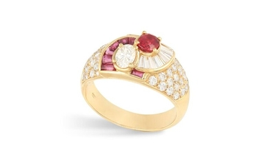 A RUBY AND DIAMOND DRESS RING Composed of a central oval-shaped diamond and ruby within a tapered baguette-cut diamond and ruby surround and shoulders pavé-set with brilliant-cut diamonds, mounted in 18K gold, diamonds approximately 1.60ct total, ring...