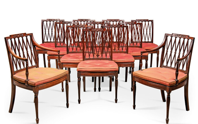 A SET OF TWELVE GEORGE III MAHOGANY DINING-CHAIRS