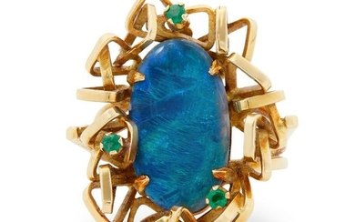 A black opal and emerald ring.