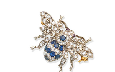 A gem-set bee brooch