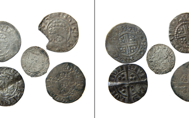 A lot of 5 English silver pennies of various rulers