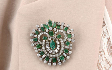 A mid 20th century vari-cut emerald and diamond clip.