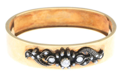 A mid to late 19th century 14ct gold rose-cut diamond hinged bangle.
