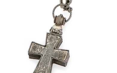 NOT SOLD. A necklace with a hinged cross of sterling silver. L. app. 68 cm....