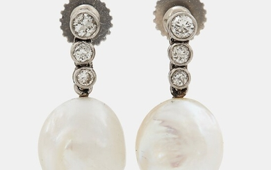 A pair of 18K white gold earrings set with pearls and round brilliant-cut diamonds