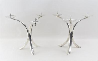 NOT SOLD. A pair of German three-armed silver candlesticks. Maker Emil Hermann Waldstetten, 20th century....