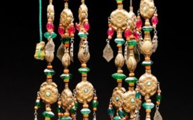 A pair of gilded silver, coral and turquoise head ornaments- Uzbek/Bukhara -1870-1900