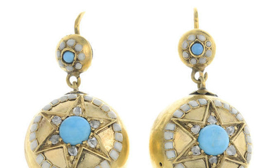 A pair of mid 19th century gold turquoise, rose-cut diamond and enamel earrings.