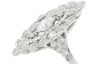 AN ANTIQUE DIAMOND CLUSTER RING the navette face set